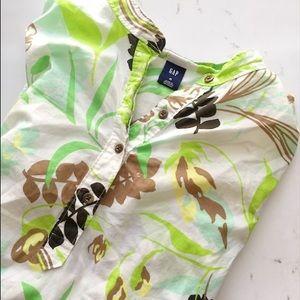 Gap mandarin collar tropical print tunic cotton